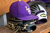 LSU Tigers baseball hat on May 10, 2013 at Blue Bell Park in College Station, Texas. (Andrew Woolley/Four Seam Images).