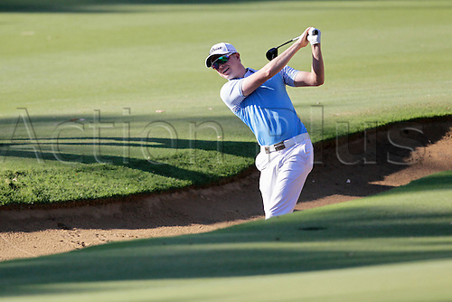 26.02.2016. Perth, Australia. ISPS HANDA Perth International Golf. Ben Eccles (AUS) hits out of the bunker on the 11th fairway during day 2.