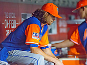New York Mets starting pitcher Jacob deGrom (48) sit dejectedly in the dugout after being pulled in the eight inning during the game against the Washington Nationals at Nationals Park in Washington, D.C. on Friday, August 25 2017.  The Mets won the game 4 - 2.<br /> Credit: Ron Sachs / CNP<br /> (RESTRICTION: NO New York or New Jersey Newspapers or newspapers within a 75 mile radius of New York City)