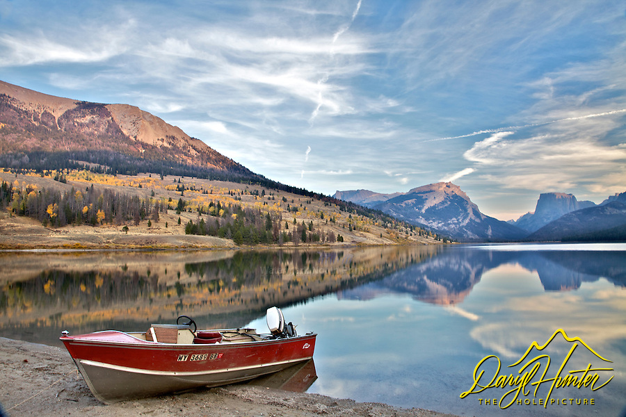 Fishing boat, fall colors, Green River Lake, Wind River Mountains, Pinedale, Wyoming