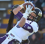 MANKATO, MN - NOVEMBER 1:  Josh Angulo #8 for the University of Sioux Falls hauls in a touchdown pass in front of Rumeal Harris #7 from Minnesota State Mankato in the third quarter Saturday afternoon at Blakeslee Stadium in Mankato. (Photo by Dave Eggen/Inertia)