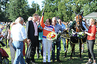 PAARDENSPORT: JOURE: 10-07- 2015, Nutsbaan, Hiltje Tjalsma uit Blauhûs wint met Banter Boy de Goudenswipe, ©foto Martin de Jong