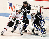 Dalen Hedges (NU - 27), Charlie Donners (Bentley - 15), Jayson Argue (Bentley - 32) - The visiting Bentley University Falcons defeated the Northeastern University Huskies 3-2 on Friday, October 16, 2015, at Matthews Arena in Boston, Massachusetts.