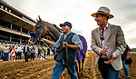 AUG 17: Groom Alex Escobar walks with Juan Leyva and TVG Pacific Classic winner Higher Power at The Del Mar Thoroughbred Club in Del Mar, California on August 17, 2019. Evers/Eclipse Sportswire/CSM