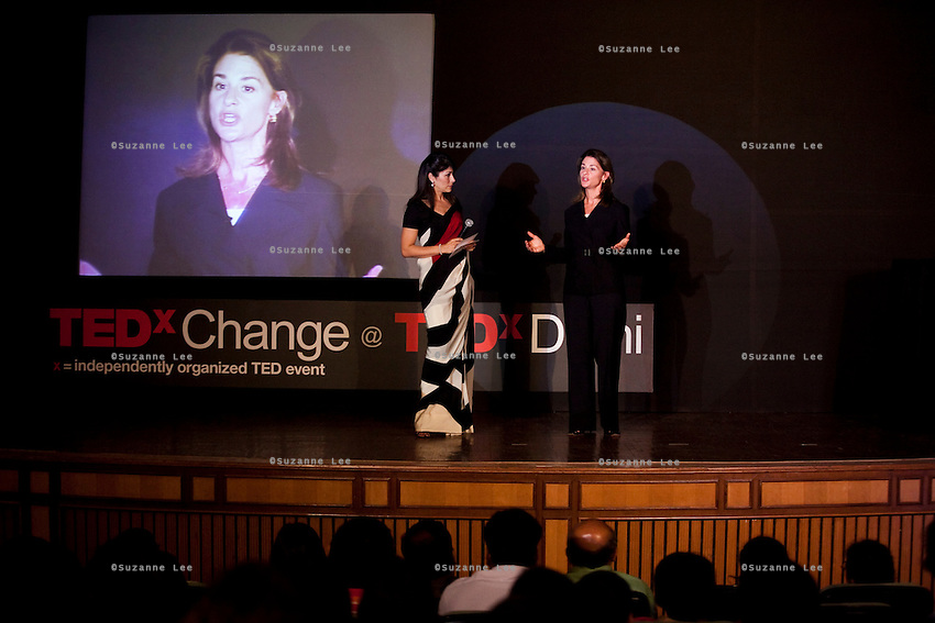 Melinda French Gates and Feroze Gujral engage in dialogue on stage at the India Islamic Cultural Centre during the TEDxChange @ TEDxDelhi in New Delhi, India on 22nd March 2011..