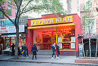 The Papaya King store on St. Marks Place in the East Village neighborhood of New York on Saturday, October 29, 2016. (© Richard B. Levine)