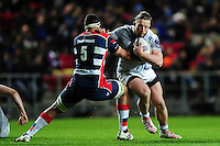Max Lahiff of Bath Rugby fends Ben Glynn of Bristol Rugby. European Rugby Challenge Cup match, between Bristol Rugby and Bath Rugby on January 13, 2017 at Ashton Gate Stadium in Bristol, England. Photo by: Patrick Khachfe / Onside Images