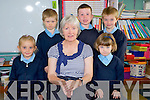 Junior infants at Casledrum National School, Castlemaine pictured with their teacher Marian Prendergast during their first day at school on Thursday.........