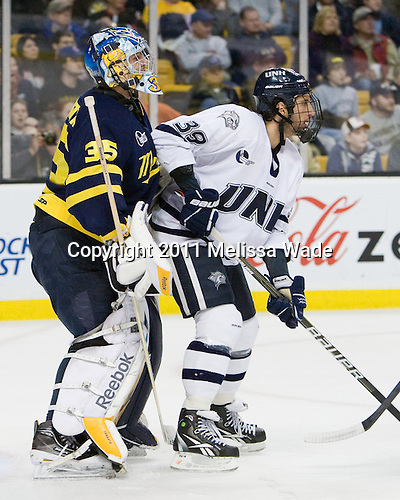 Joe Cannata (Merrimack - 35), Phil DeSimone (UNH - 39) - The Merrimack College Warriors defeated the University of New Hampshire Wildcats 4-1 (EN) in their Hockey East Semi-Final on Friday, March 18, 2011, at TD Garden in Boston, Massachusetts.