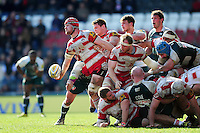 Tom Savage of Gloucester Rugby looks to offload the ball. Aviva Premiership match, between Leicester Tigers and Gloucester Rugby on April 2, 2016 at Welford Road in Leicester, England. Photo by: Patrick Khachfe / JMP