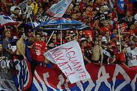 MEDELLIN - COLOMBIA -31-07-2016: Los hinchas del Deportivo Independiente Medellin animan a su equipo durante partido por la fecha 6 entre Deportivo Independiente Medellin y Atletico Huila, de la Liga Aguila II 2016, en el estadio Atanasio Girardot de la ciudad de Medellin. / The players of Deportivo Independiente Medellin cheer for their team during a match for the date 6 between Deportivo Independiente Medellin and Atletico Huila, of the Liga Aguila II 2016 at the Atanasio Girardot stadium in Medellin city. Photos: VizzorImage  / Leon Monsalve / Cont.