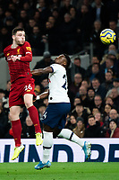 Liverpool's Andy Robertson holds off the challenge from Tottenham's Serge Aurier<br /> <br /> Photographer Stephanie Meek/CameraSport<br /> <br /> The Premier League - Tottenham Hotspur v Liverpool - Saturday 11th January 2020 - Tottenham Hotspur Stadium - London<br /> <br /> World Copyright © 2020 CameraSport. All rights reserved. 43 Linden Ave. Countesthorpe. Leicester. England. LE8 5PG - Tel: +44 (0) 116 277 4147 - admin@camerasport.com - www.camerasport.com