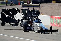 Oct. 28, 2012; Las Vegas, NV, USA: NHRA top fuel dragster driver Bob Vandergriff Jr during the Big O Tires Nationals at The Strip in Las Vegas. Mandatory Credit: Mark J. Rebilas-
