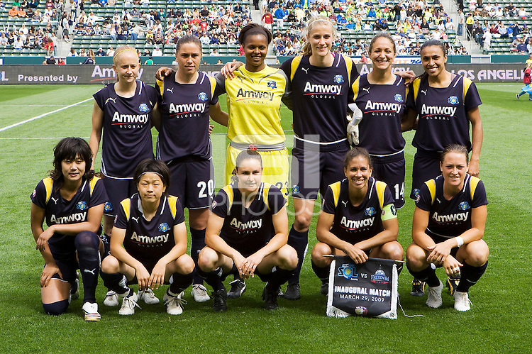 The LA Sol defeated the Washington Freedom 2-0 in the opening game of Womens Professional Soccer at Home Depot Center stadium on Sunday March 29, 2009.  .