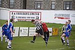Jonathan Garden heading Fraserburgh into a first-minute lead at Bellslea Park, during the club's Highland League fixture against visitors Strathspey Thistle (in blue). Nicknamed 'The Broch,' Fraserburgh have been members of the Highland League since 1921 having been formed 11 years earlier. The match ended in a 2-2 draw in front of a crowd of 302.