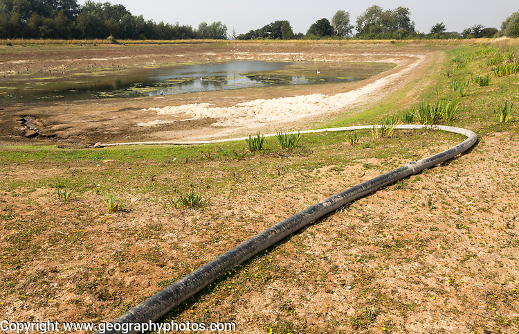 27 July 2018 Low water level in farm irrigation lake after long summer drought, Sutton, Suffolk England, UK