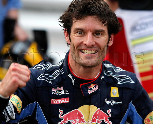 16 05 2010  Formula 1 Grand Prix from Monaco Monte Carlo. Monaco motor racing Formula 1 Grand Prix GP. Picture shows the cheering from Mark Webber of Red Bull Racing as he finished as winner of the race