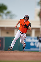 GCL Orioles Trevor Kehe (16) running the bases during a Gulf Coast League game against the GCL Braves on August 5, 2019 at Ed Smith Stadium in Sarasota, Florida.  GCL Orioles defeated the GCL Braves 4-3 in the first game of a doubleheader.  (Mike Janes/Four Seam Images)