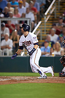 Minnesota Twins second baseman Brian Dozier (2) at bat during a Spring Training game against the Boston Red Sox on March 16, 2016 at Hammond Stadium in Fort Myers, Florida.  Minnesota defeated Boston 9-4.  (Mike Janes/Four Seam Images)