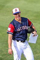 Jackson Generals manager Blake Lalli (11) prior to a Southern League game against the Biloxi Shuckers on June 14, 2019 at The Ballpark at Jackson in Jackson, Tennessee. Jackson defeated Biloxi 4-3. (Brad Krause/Four Seam Images)