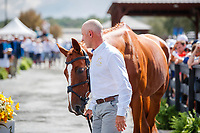 AUS-Andrew Hoy presents Vassily de Lassos during the First Horse Inspection for the FEI World Team and Individual Eventing Championship. 2018 FEI World Equestrian Games Tryon. Wednesday 12 September. Copyright Photo: Libby Law Photography