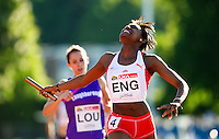 23 MAY 2010 - LOUGHBOROUGH, GBR - Perri Shakes-Drayton (England) celebrates winning the Womens 4 x 400m Relay on the last leg at the Loughborough International Athletics .(PHOTO (C) NIGEL FARROW)