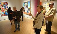 NWA Democrat-Gazette/ANDY SHUPE<br /> Mindy Besaw, Crystal Bridges Curator of American Art, speaks Thursday, Oct. 4, 2018, during a tour of a new exhibition of artwork by Native American artists at Crystal Bridges Museum of American Art in Bentonville. The exhibition, titled &quot;Art for a New Understanding: Native Voices, 1950s to Now,&quot; opens today and runs through Jan. 7, 2019.