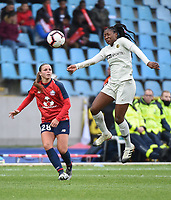 20190113 - LILLE , FRANCE : LOSC's Marine Dafeur (L) and PSG's Kadidiatou Diani (R) pictured during women soccer game between the women teams of Lille OSC and Paris Saint Germain  during the 16 th matchday for the Championship D1 Feminines at stade Lille Metropole , Sunday 13th of January 2019,  PHOTO Dirk Vuylsteke | Sportpix.Be