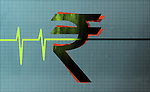 Illustrative image of flatline of heartbeat passing through rupee sign representing Indian recession