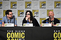 SAN DIEGO COMIC-CON© 2019:  L-R: 20th Century Fox Television's AMERICAN DAD Writer/Cast Member Jeff Kauffmann, Executive Producer Kara Vallow and Producer Matt Weitzman during the AMERICAN DAD panel on Saturday, July 20 at the SAN DIEGO COMIC-CON© 2019. CR: Frank Micelotta/20th Century Fox Television