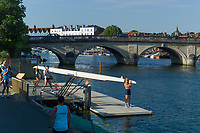 """Henley on Thames, United Kingdom, 3rd July 2018, Tuesday, View, """"Crews and Athletes"""", from Leander Club,  prepared, for the first, training session of the day, in preparation for Wednesday's, first day of the annual,  """"Henley Royal Regatta"""", Henley Reach, River Thames, Thames Valley, England, © Peter SPURRIER,"""