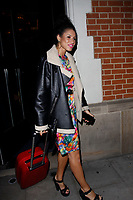 LONDON, ENGLAND - OCTOBER 08 :  Vick Hope leaves the production of 'Strictly Come Dancing : It Takes Two', at The Hospital Club Studios on October 08, 2018 in London, England.<br /> CAP/AH<br /> &copy;AH/Capital Pictures