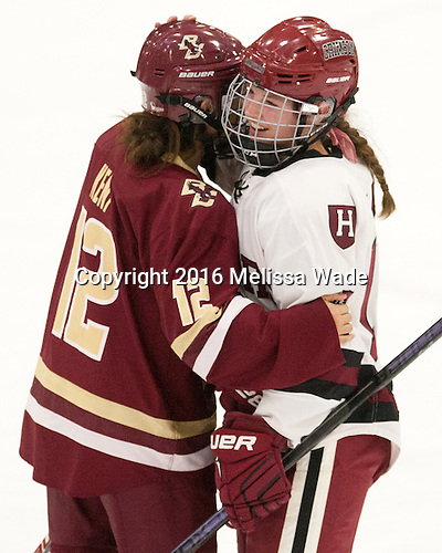 Kenzie Kent (BC - 12), Lexie Laing (Harvard - 16) - The visiting Boston College Eagles defeated the Harvard University Crimson 2-0 on Tuesday, January 19, 2016, at Bright-Landry Hockey Center in Boston, Massachusetts.