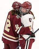 Kenzie Kent (BC - 12), Lexie Laing (Harvard - 16) - The visiting Boston College Eagles defeated the Harvard University Crimson 2-0 on Tuesday, January 19, 2016, at Bright-Landry Hockey Center in Boston, Massachusetts.