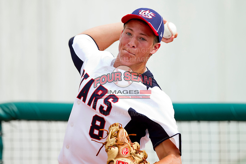 Jared Price #8 of STARS throws in the bullpen during the game against NABF at the 2011 Tournament of Stars at the USA Baseball National Training Center on June 25, 2011 in Cary, North Carolina.  The Stars defeated NABF 7-1.  (Brian Westerholt/Four Seam Images)