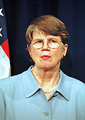 Washington, DC - June 7, 2000 -- Attorney General Janet Reno meets reporters at the Justice Department in Washington Wednesday, June 7, 2000, to discuss the Microsoft ruling.<br /> Credit: Ron Sachs / CNP