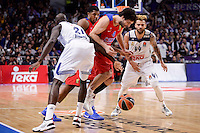 Real Madrid's Othello Hunter and Jeffery Taylor and CSKA Moscow Milos Teodosic during Turkish Airlines Euroleague match between Real Madrid and CSKA Moscow at Wizink Center in Madrid, Spain. January 06, 2017. (ALTERPHOTOS/BorjaB.Hojas)