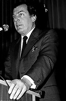 April 25 1988 File Photo - <br /> Egdar Bronfman (Senior) ,Canadian born billionaire and longtime World Jewish Congress president speak at the Canadian Club of Montreal tribune.<br /> <br /> Born June 20, 1929, Edgar Bronfman is one of four children of Samuel and Saidy Bronfman . He  died December 21,2013<br /> <br /> <br /> PHOTO :  Agence Quebec Presse