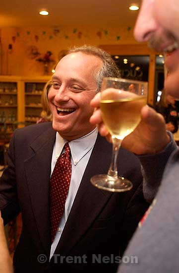 Salt Lake City - Salt Lake City mayoral candidate Frank Pignanelli meets with supporters at Cucina, a Salt Lake City deli after polls closed Tuesday.&amp;#xA;; 10/07/2003<br />