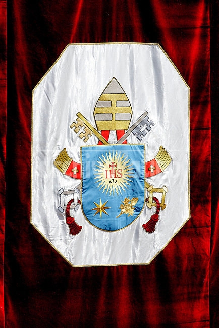 The coat of arms of Pope Francis seen at Castel Gandolfo summer residence on july 14, 2013