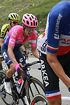 French Champion Warren Barguil (FRA) Arkea-Samsic, Rigoberto Uran (COL) EF Education First and Simon Yates (GBR) Mitchelton-Scott climb the Col d'Iseran during Stage 19 of the 2019 Tour de France originally running 126.5km from Saint-Jean-de-Maurienne to Tignes but cut short to 88.5 km, France. 26th July 2019.<br /> Picture: John Pierce/PhotoSport Int | Cyclefile<br /> All photos usage must carry mandatory copyright credit (© Cyclefile | John Pierce/PhotoSport Int)