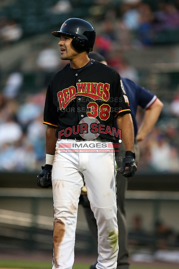 July 1st 2008:  Second baseman Alejandro Machado of the Rochester Red Wings, Class-AAA affiliate of the Minnesota Twins, during a game at Frontier Field in Rochester, NY.  Photo by:  Mike Janes/Four Seam Images