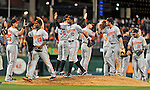 19 May 2012: The Baltimore Orioles celebrate a win over the Washington Nationals at Nationals Park in Washington, DC. The Orioles defeated the Nationals 6-5 in the second game of their 3-game series. Mandatory Credit: Ed Wolfstein Photo