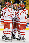 Corey Trivino (BU - 10), Alex Chiasson (BU - 9), Matt Nieto (BU - 17), David Warsofsky (BU - 5), Ryan Ruikka (BU - 2) - The Harvard University Crimson defeated the Boston University Terriers 5-4 in the 2011 Beanpot consolation game on Monday, February 14, 2011, at TD Garden in Boston, Massachusetts.