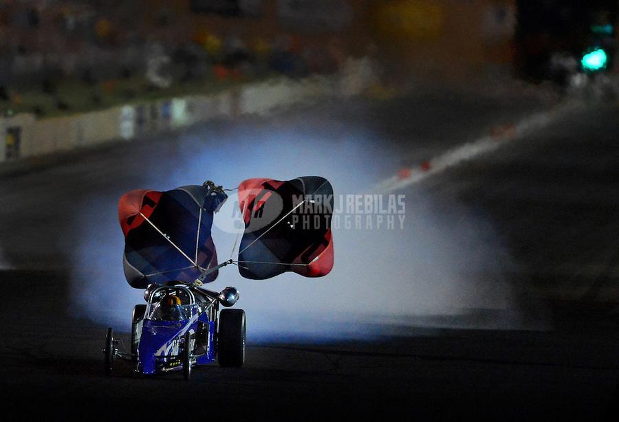 Jul, 20, 2012; Morrison, CO, USA: NHRA jet dragster driver during qualifying for the Mile High Nationals at Bandimere Speedway. Mandatory Credit: Mark J. Rebilas-