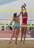 Action during the Women's England v Holland Volleyball match at Sandbanks, Poole, England on 10 July 2015. Photo by Andy Rowland.