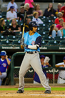 Colorado Springs Sky Sox infielder Mauricio Dubon (2) during game two of a Pacific Coast League doubleheader against the Iowa Cubs on August 17, 2017 at Principal Park in Des Moines, Iowa. Iowa defeated Colorado Springs 6-0. (Brad Krause/Krause Sports Photography)