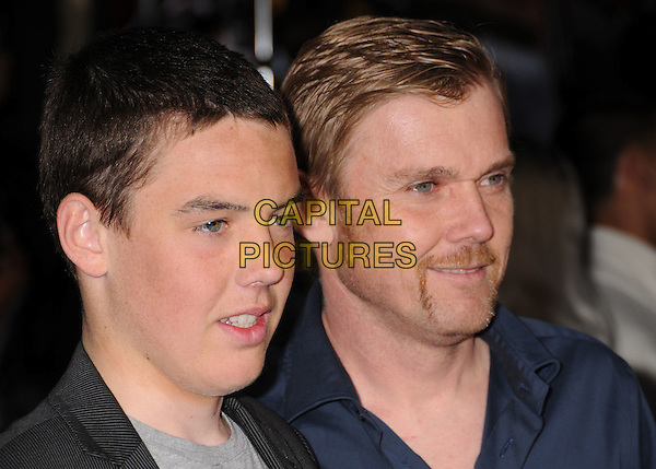 "HOLDEN & RICK SCHRODER.""Street Kings"" Los Angeles Premiere at Grauman's Chinese Theatre, Hollywood, California, USA..April 3rd, 2008.headshot portrait ricky moustache mustache facial hair Schroeder father son family .CAP/ADM/BP.©Byron Purvis/AdMedia/Capital Pictures."