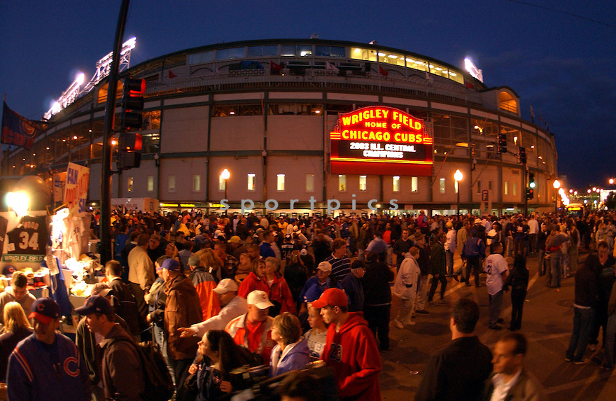 An outside view of Wrigley Field in Chicago, IL, after the Cubs clinched the National League East pennant on October 1, 2003. Chris Bernacchi/SPORTPICS