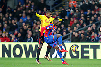 Christian Benteke of Crystal Palace holds off Christian Kabasele of Watford during the Premier League match between Crystal Palace and Watford at Selhurst Park, London, England on 12 December 2017. Photo by Carlton Myrie / PRiME Media Images.